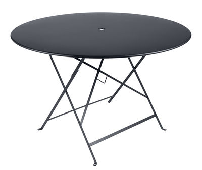 Outdoor - Garden Tables - Bistro Foldable table - Ø 117 cm - 6/8 persons by Fermob - Anthracite - Painted steel
