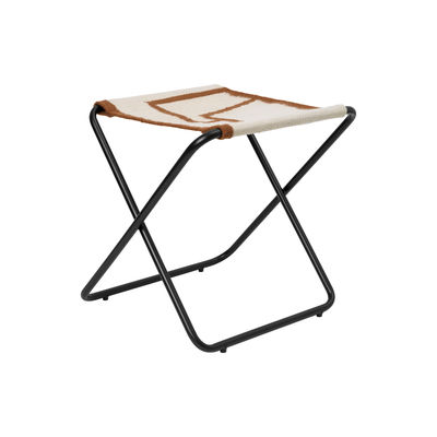 Furniture - Stools - Desert folding stool - / Recycled plastic bottles - Black structure by Ferm Living - Black metal / Shapes fabric - Powder coated steel, Recycled fabric