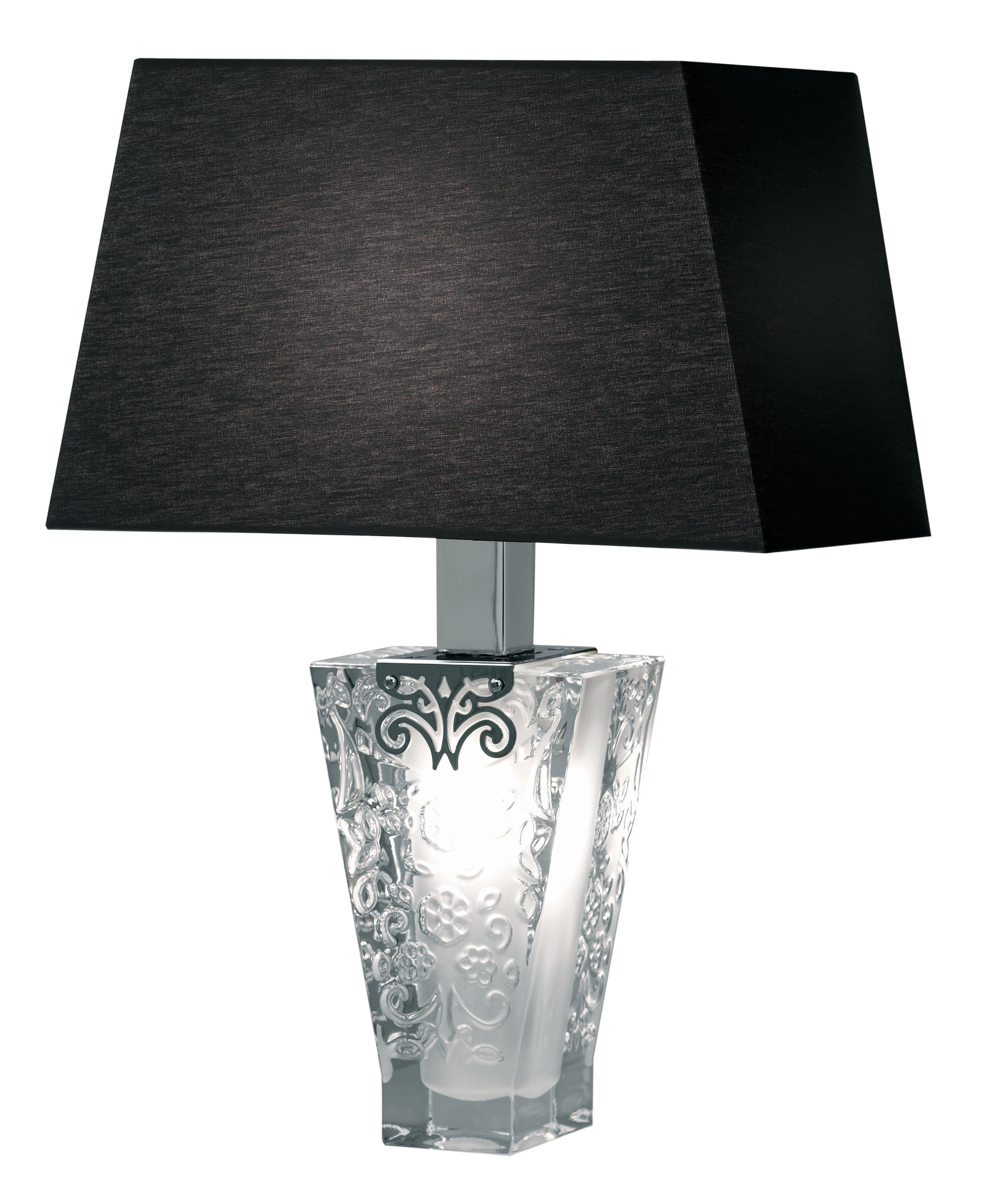 Illuminazione - Lampade da tavolo - Lampada da tavolo Vicky di Fabbian - Paralume nero - Cotone, Metallo cromato, Vetro