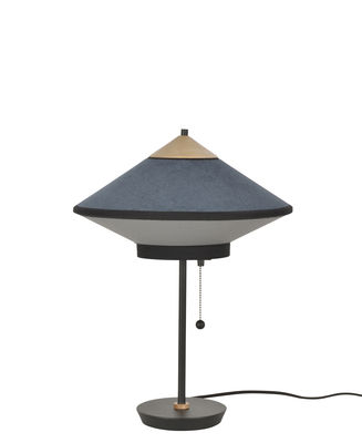 Lampe de table Cymbal / Ø 35 cm - Velours - Forestier bleu foncé,chêne naturel en tissu