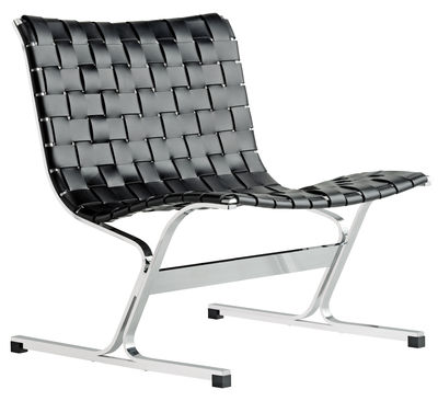 Furniture - Armchairs - Luar Low armchair - / Leather and chromed steel by ICF - Black leather - Chromed steel, Leather