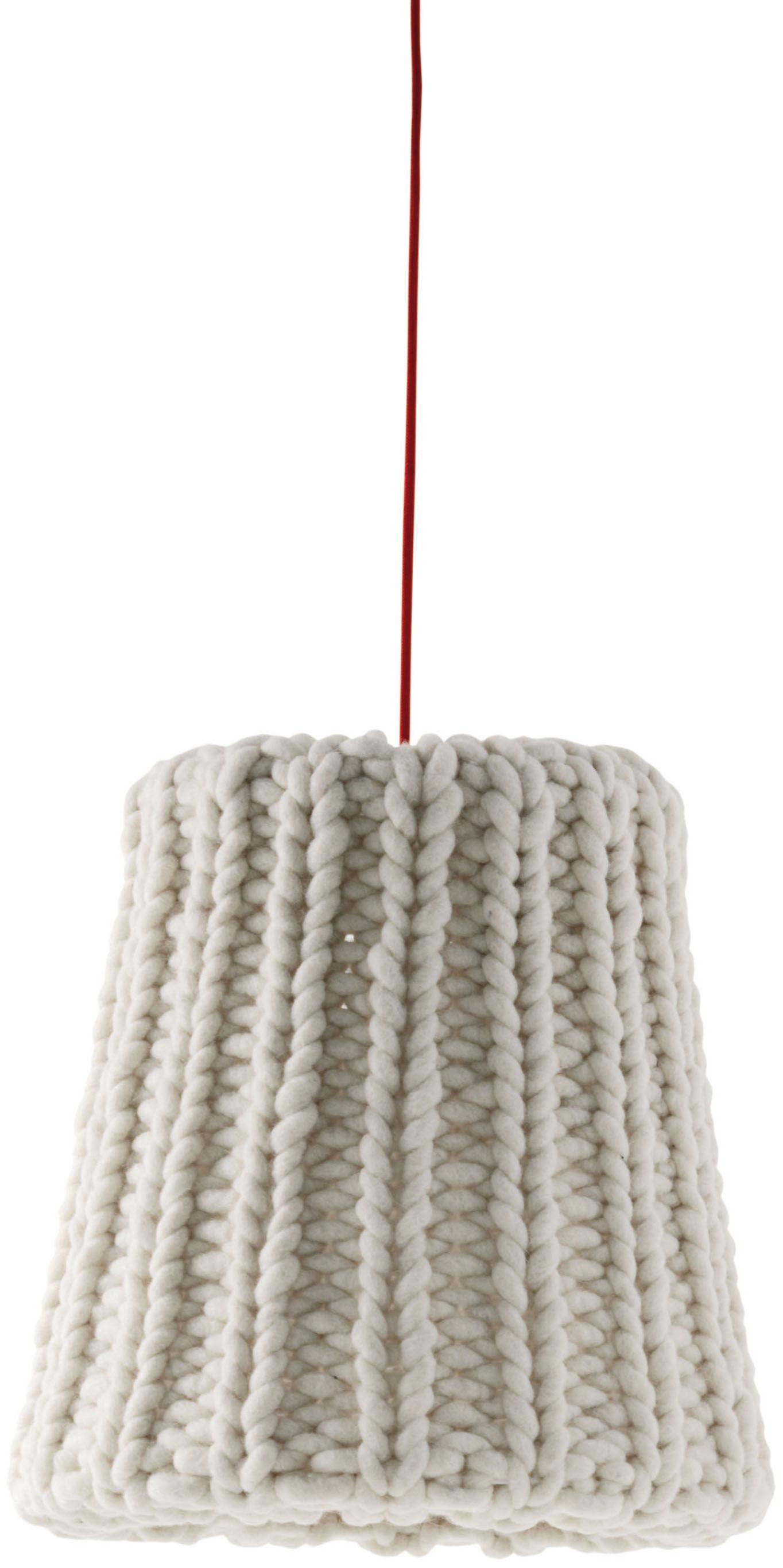 Leuchten - Pendelleuchten - Granny Large Pendelleuchte / Ø 37,5 cm - Casamania - Altweiß / Stromkabel rot - Wolle