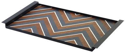Tavola - Vassoi  - Vassoio Charles / 54 x 30 cm - Legno & metallo - Serax - Legno con decorazione a spina di pesce nera / Cornice nera - Acciaio laccato, Legno