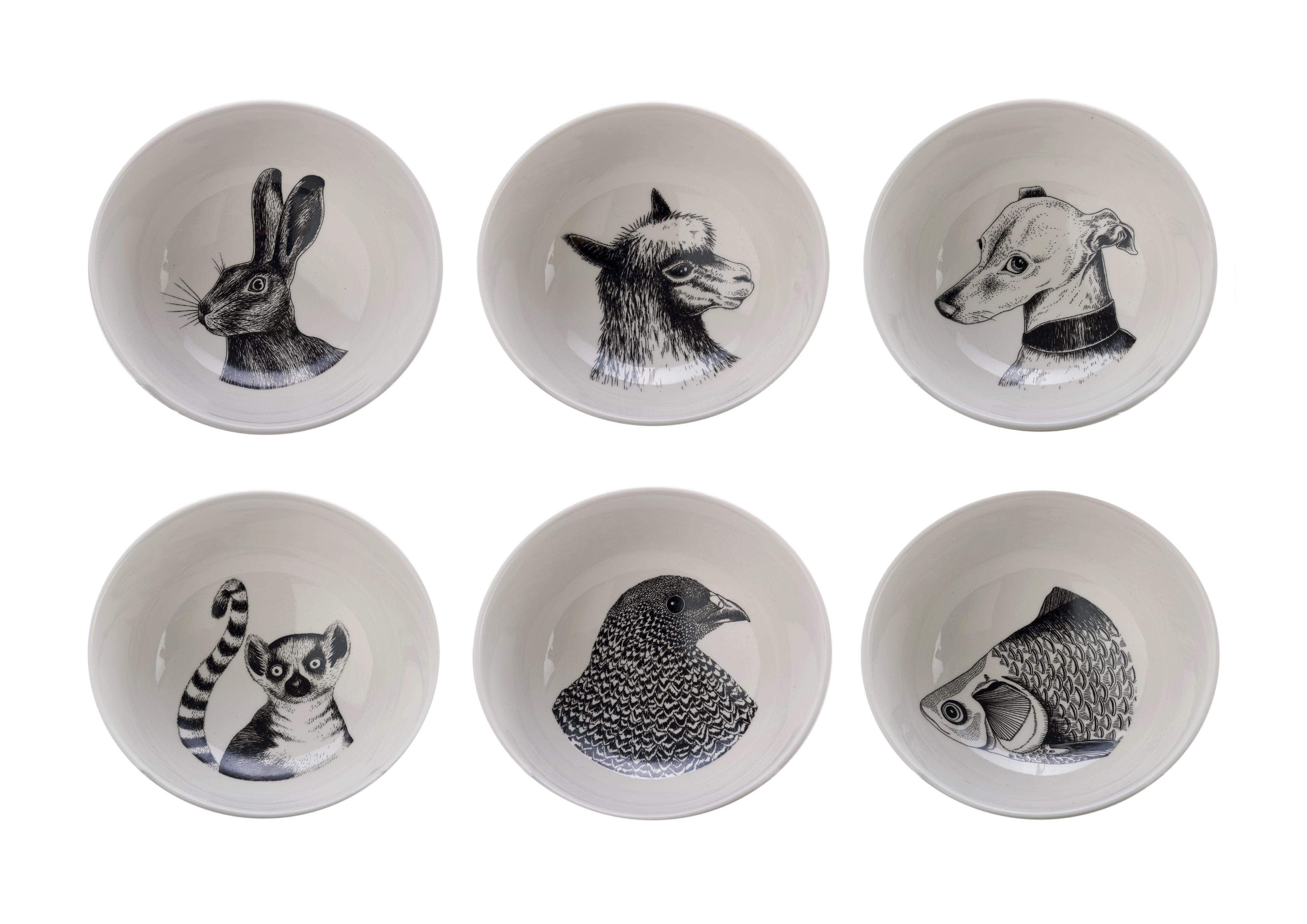 Tischkultur - Salatschüsseln und Schalen - Animals Schale / 6er Set - Porzellan - Pols Potten - Schwarz & weiß - Verglastes Porzellan