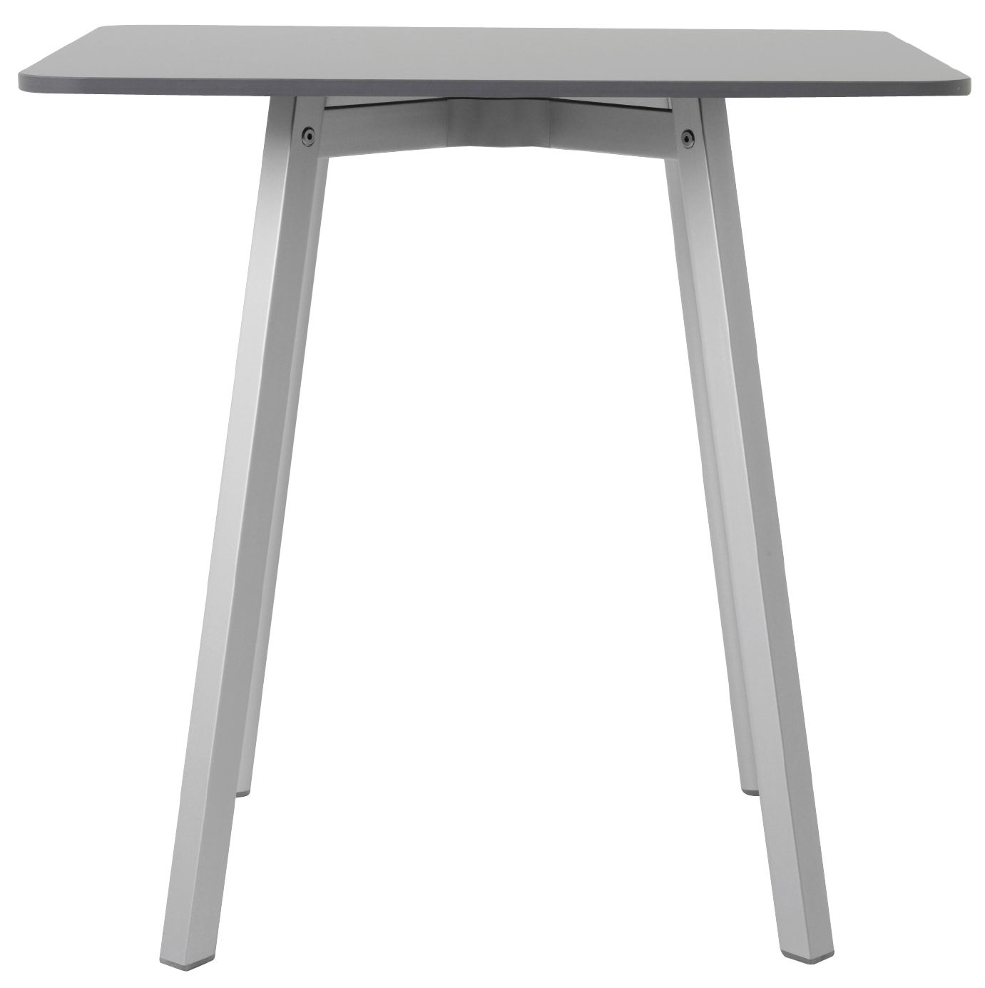 Furniture - Dining Tables - Su Square table - / 80 x 80 cm by Emeco - Grey / Aluminium legs - Aluminium recyclé, HPL