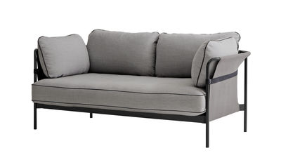 Furniture - Sofas - Can Straight sofa - 2 seaters / L 172 cm by Hay - Grey / Grey sides / Black metal - Fabric, Foam, Metal