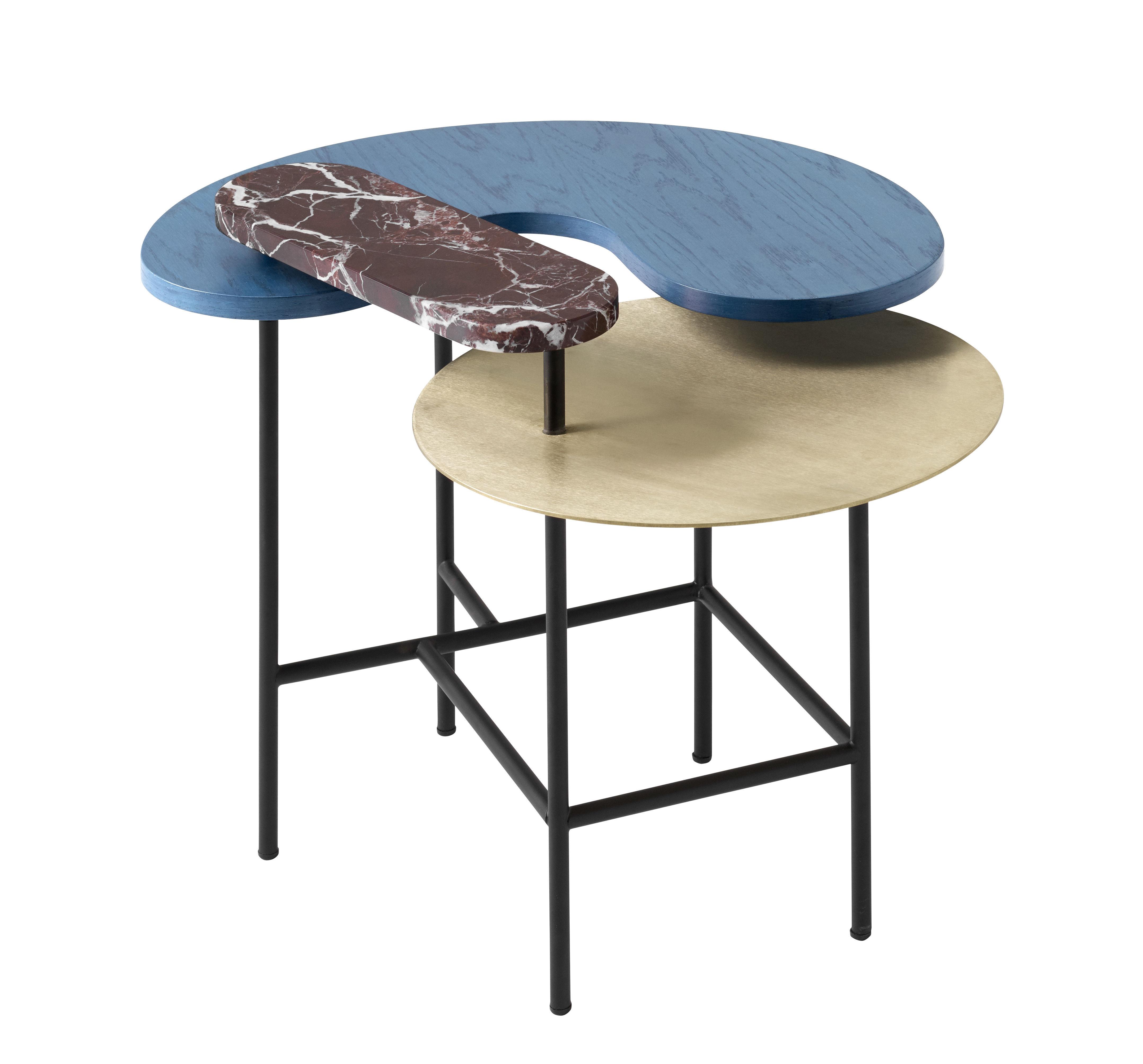 Mobilier - Tables basses - Table basse Palette JH8 / 3 plateaux - &tradition - Bleu, rouge et or / Piètement noir - Acier, Frêne, Laiton, Marbre