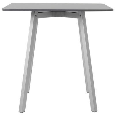 Mobilier - Tables - Table carrée Su / 80 x 80 cm - Emeco - Gris / Pieds aluminium - Aluminium recyclé, HPL