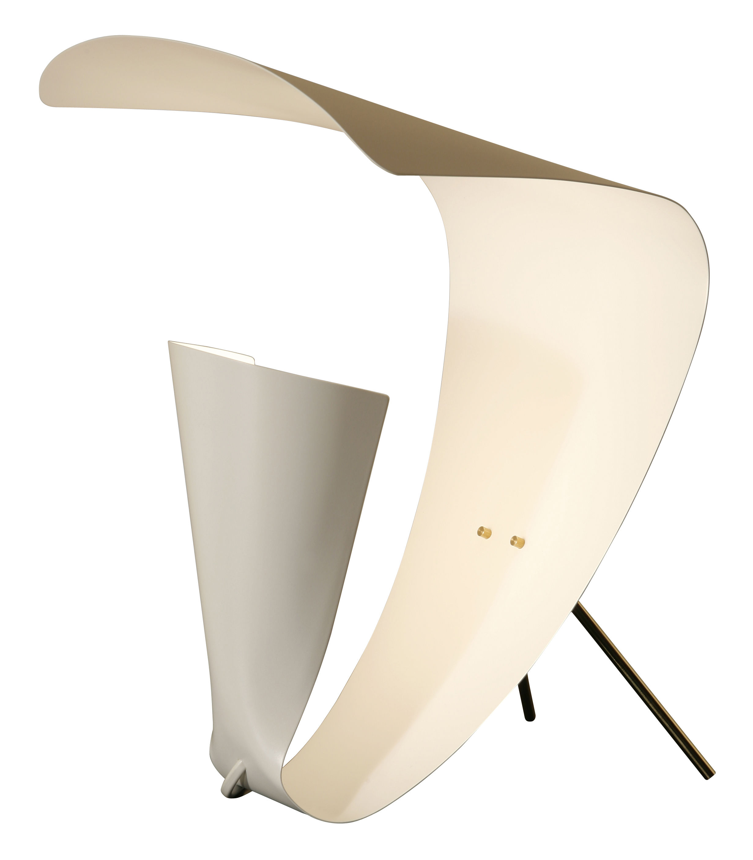 Lighting - Table Lamps - B201 Table lamp - 1953 by Michel Buffet - White - Brass, Lacquered tole