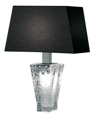 Lighting - Table Lamps - Vicky Table lamp by Fabbian - Black shade - Chromed metal, Cotton, Glass