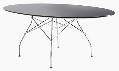 Table ovale Glossy Glass 194 x 120 cm Verre Kartell noir,chromé en verre