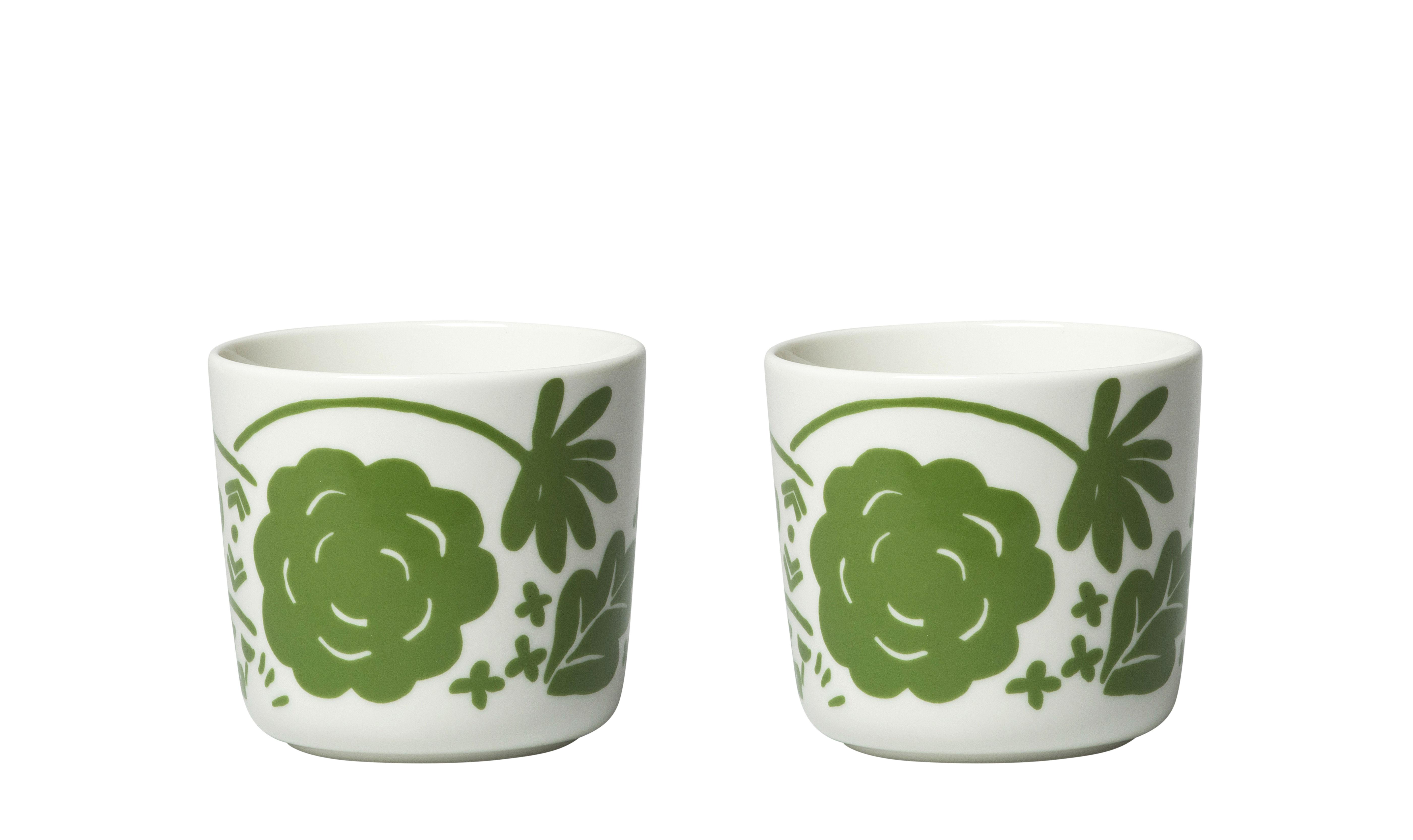 Tavola - Tazze e Boccali - Tazzina da caffè Onni - / Senza manici - Set da 2 di Marimekko - Onni / Verde & Bianco - Gres