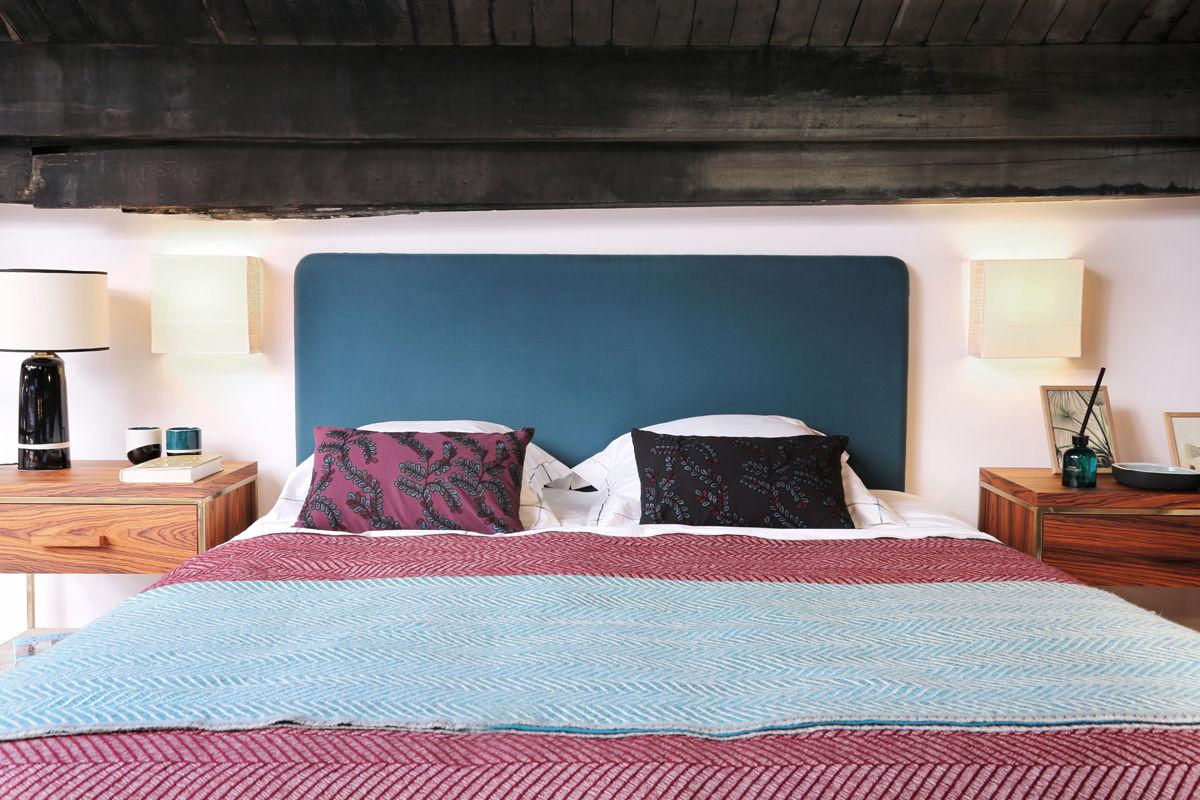 t te de lit double jeu 180 x 116 cm bleu sarah radis noir maison sarah lavoine made in. Black Bedroom Furniture Sets. Home Design Ideas