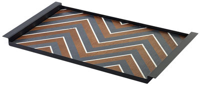 Tableware - Trays - Charles Tray - 54 x 30 cm - Wood & metal by Serax - Bois with black pattern / Black frame - Lacquered steel, Wood