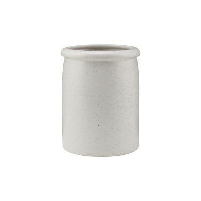 Küche - Küchenutensilien - Pion Utensilien-Halter / Ø 11 x H 15 cm - Gesprenkeltes Porzellan - House Doctor - Weiß-grau - emailliertes Porzellan