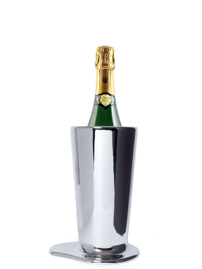 Dekoration - Vasen - Puddle Small Vase Sektkübel H 27 cm - Skitsch - H 27 cm - Nickel poliert - Messing im poliertem Nickel-Finish
