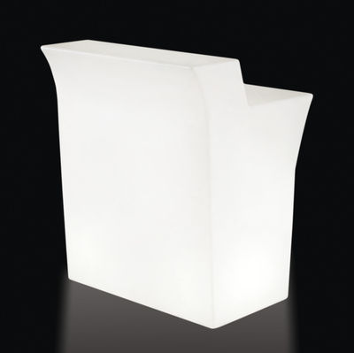 Arredamento - Tavoli alti - Bancone luminoso Jumbo LED RGB - / L 90 cm - Senza fili di Slide - Bianco - polietilene riciclabile