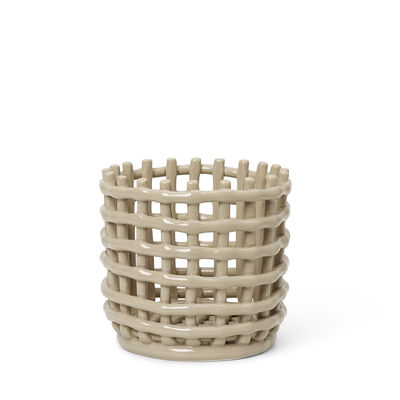 Tableware - Fruit Bowls & Centrepieces - Ceramic Small Basket - / Ø 16 x H 14.5 cm - Hand-made by Ferm Living - Cashmere beige - Glazed ceramic