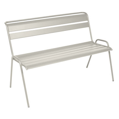 Furniture - Benches - Monceau Bench with backrest - / 2 to 3 seats - L 116 cm by Fermob - Clay grey - Painted steel