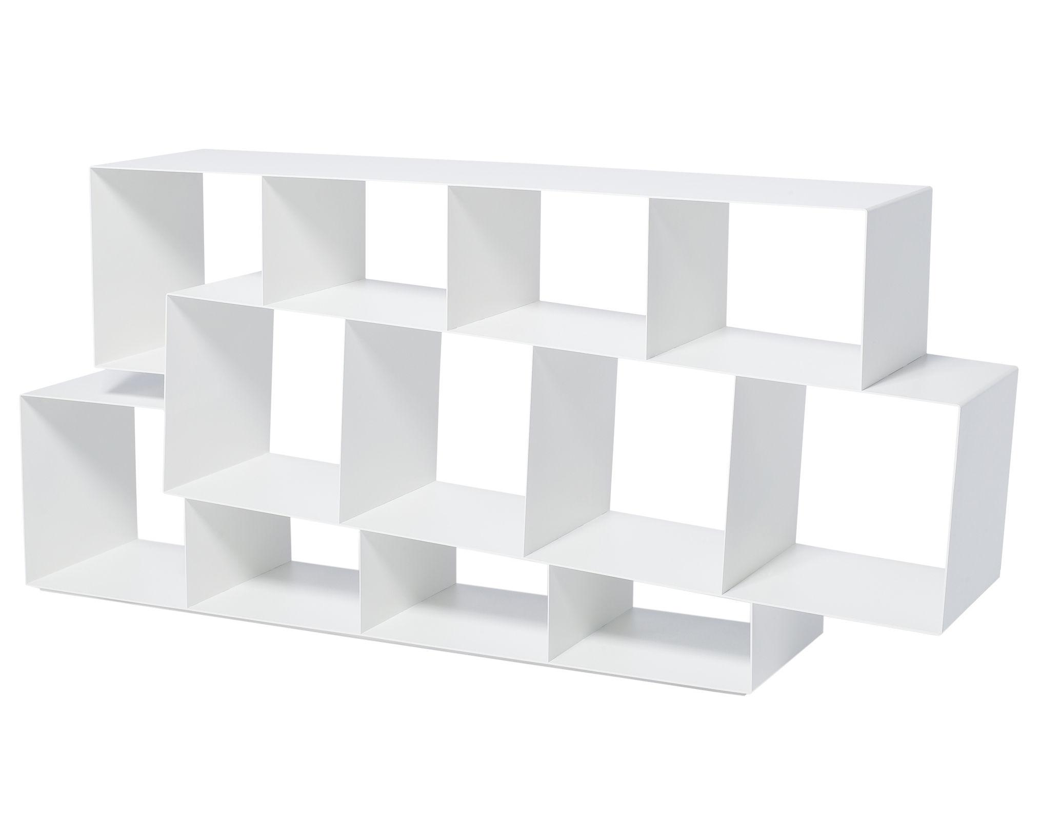 Mobilier - Etagères & bibliothèques - Bibliothèque Squilibri L 160 cm x H 73 cm - Skitsch - Blanc - Métal laqué
