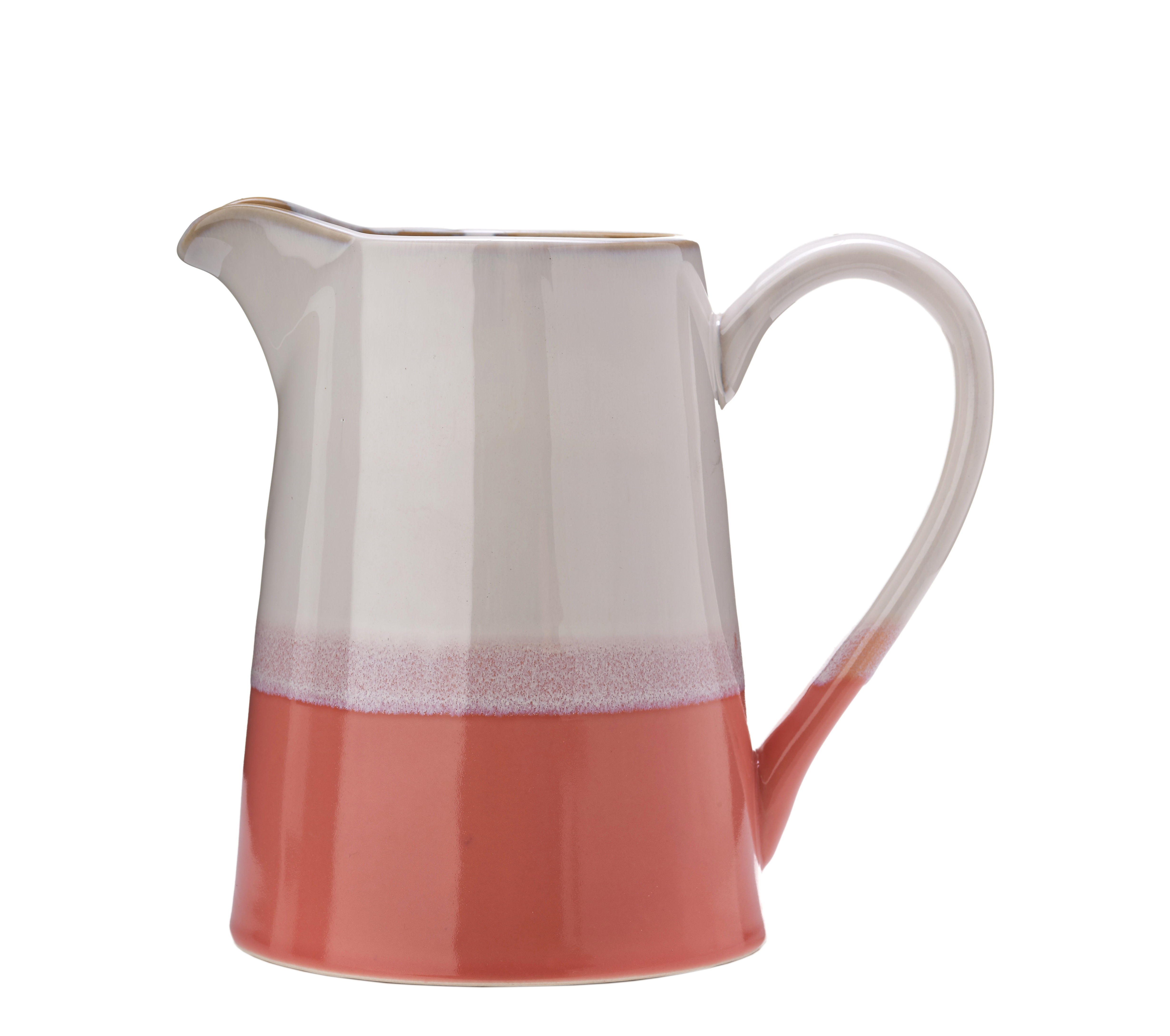 Tableware - Water Carafes & Wine Decanters - Panorama Carafe - / 1.5 L - Ceramic by Pols Potten - Pink & beige - Glazed ceramic