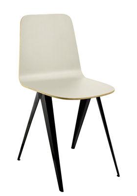 Furniture - Chairs - Sanba Chair - / 40 x 50.5 cm by Serax - Cream white & gold / Black legs - Melamine, Polyurethane, Steel
