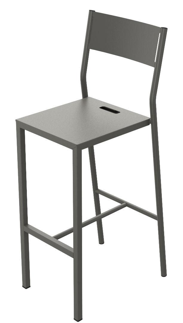 Mobilier - Tabourets de bar - Chaise de bar Up / H 75 cm - Métal - Matière Grise - Taupe - Acier peint époxy