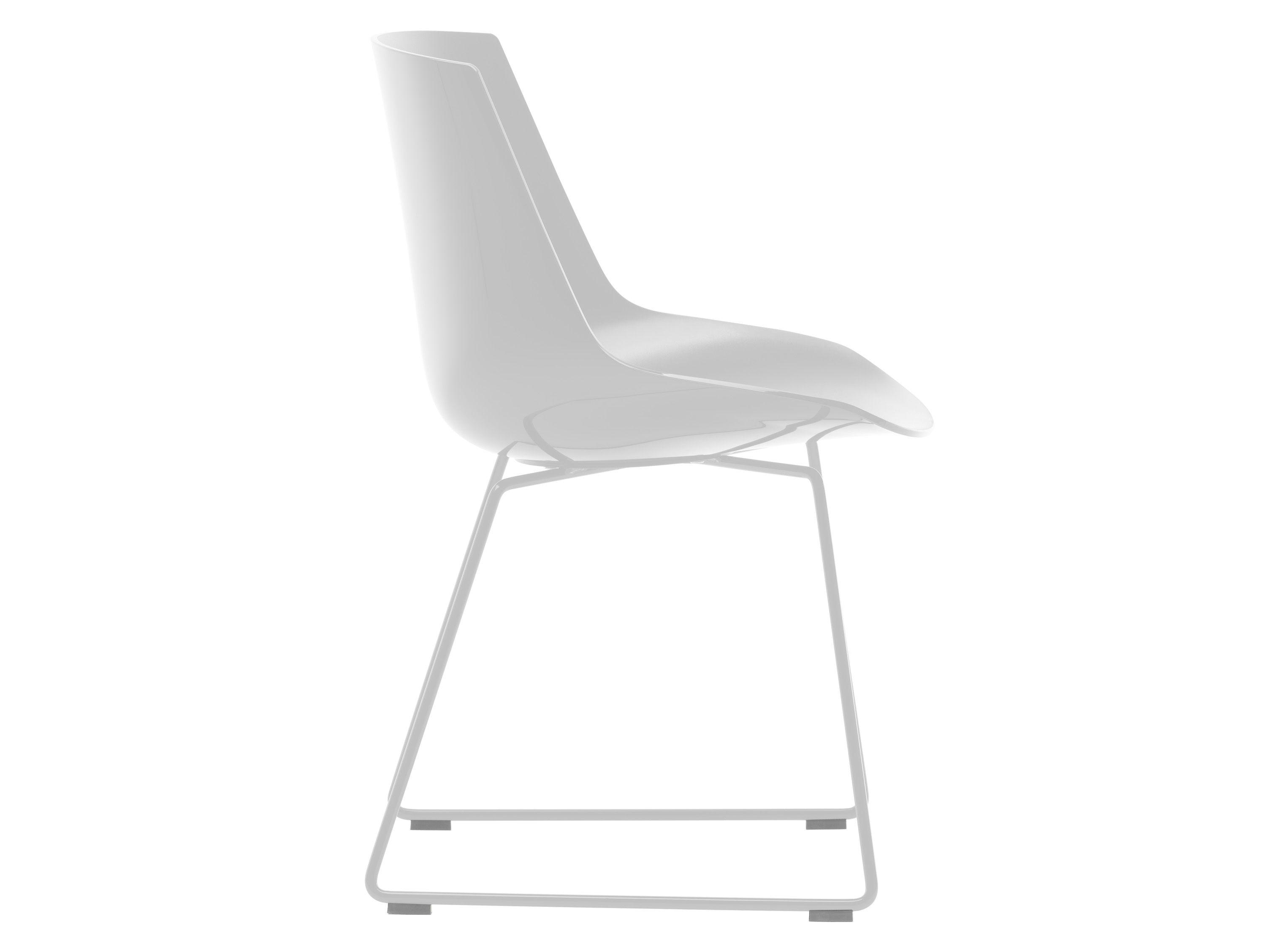 Mobilier - Chaises, fauteuils de salle à manger - Chaise Flow / Pied traineau - MDF Italia - Blanc brillant / Piètement blanc - Acier laqué, Polycarbonate