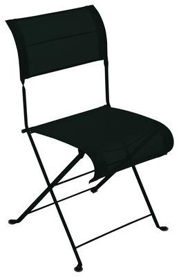 Mobilier - Chaises, fauteuils de salle à manger - Chaise pliante Dune / Toile - Fermob - Réglisse - Acier laqué, Toile polyester