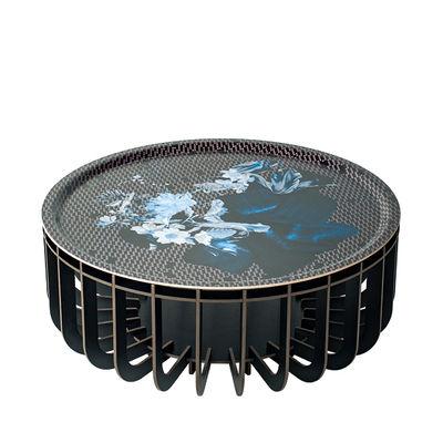Furniture - Coffee Tables - Medusa Large Coffee table - / Ø 65 x H 27 cm - Detachable top by Ibride - Black legs / Sapphire Vibration - HPL laminate