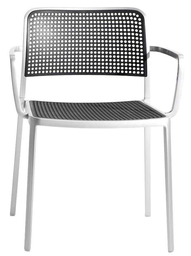 Mobilier - Chaises, fauteuils de salle à manger - Fauteuil empilable Audrey / Structure aluminium mat - Kartell - Structure alu mat / Assise noire - Aluminium verni, Polypropylène