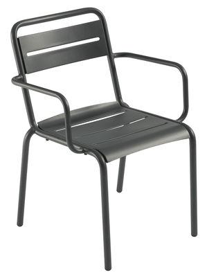 Mobilier - Chaises, fauteuils de salle à manger - Fauteuil empilable Star / Métal - Emu - Fer Ancien mat - Acier verni, Tôle galvanisée