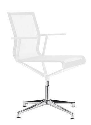 Fauteuil pivotant Stick Chair / Assise tissu - Pied 4 branches - ICF blanc,métal brillant en tissu