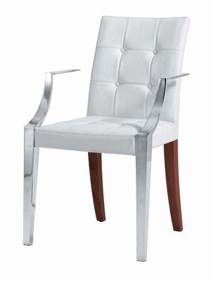 Mobilier - Chaises, fauteuils de salle à manger - Fauteuil rembourré Monseigneur / Small - Cuir - Driade - Cuir blanc - Acier inoxydable, Bois, Cuir