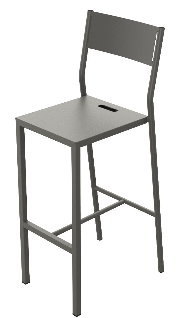 Möbel - Barhocker - Up Hochstuhl / H 75 cm - Metall - Matière Grise - Taupe - Acier peint époxy