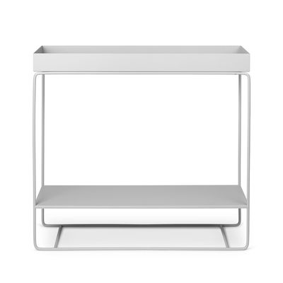 Jardinière sur pied Plant Box / 2 niveaux - L 80 x H 75 cm x Prof. 25 cm - Ferm Living gris clair en métal