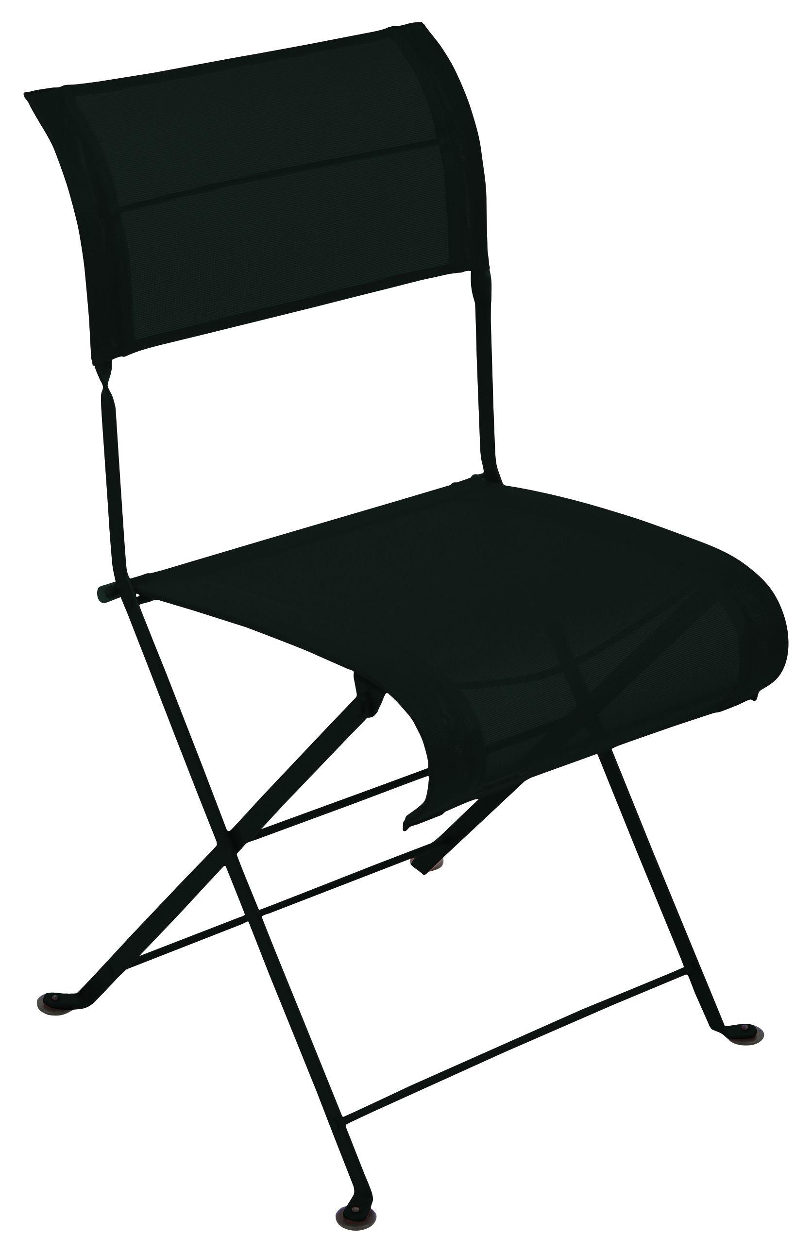 Möbel - Stühle  - Dune Klappstuhl Klappstuhl - Fermob - Lakritz - lackierter Stahl, Polyester-Gewebe