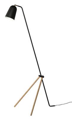 Illuminazione - Lampade da terra - Lampada a stelo Giraffe di Frandsen - Nero / Legno naturale - Frassino, metallo verniciato