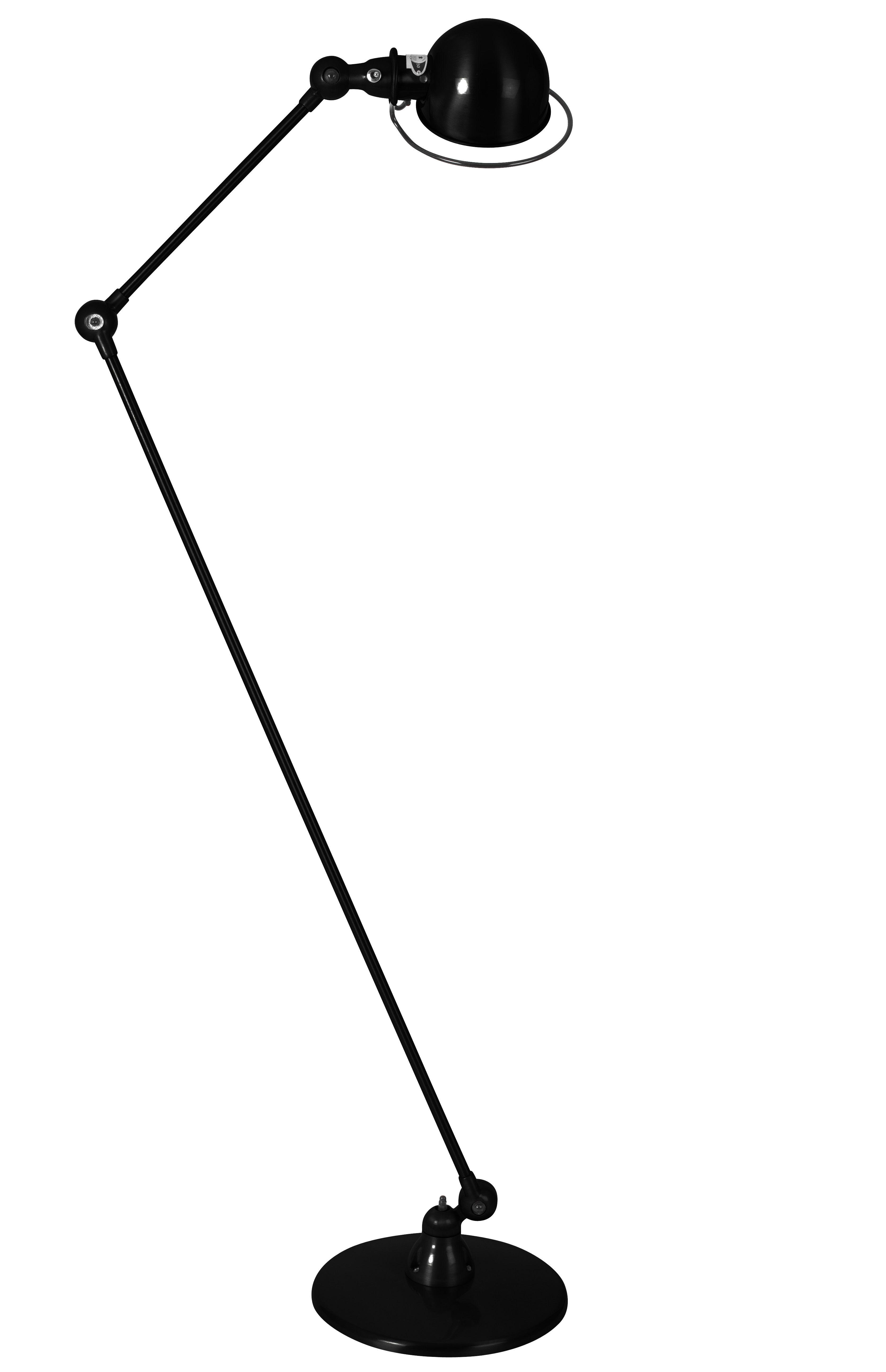 Illuminazione - Lampade da terra - Lampada a stelo Loft - 2 bracci articolati - H max 160 cm di Jieldé - Nero opaco - Acciaio inossidabile