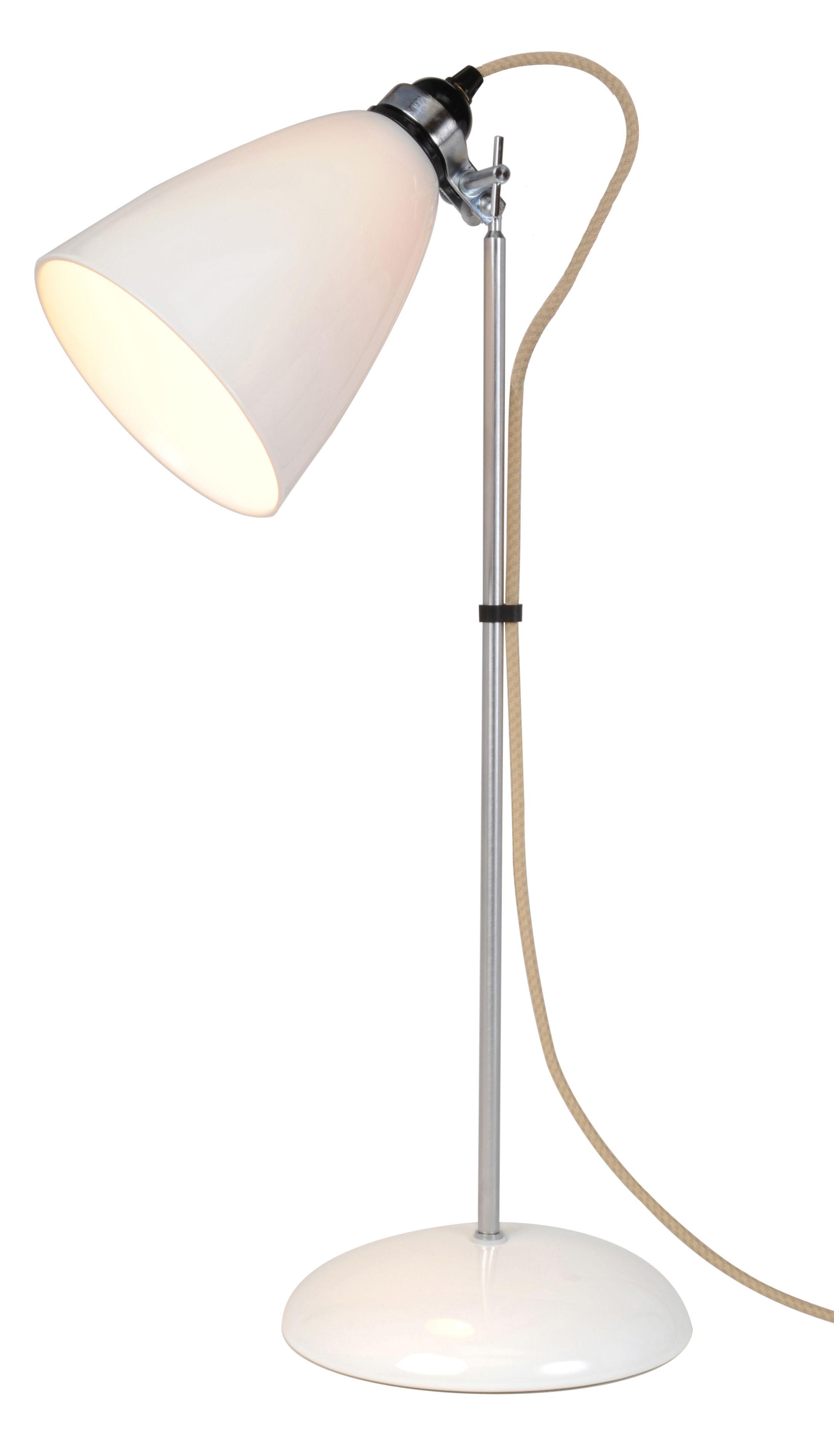Illuminazione - Lampade da tavolo - Lampada da tavolo Hector Dome - / Large - H 71 cm - Porcellana liscia di Original BTC - H 71 cm (Large) / Bianco - Metallo cromato, Porcellana