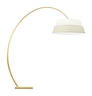 Luminaire - Lampadaires - Lampadaire Nuala - Objekto - Structure frêne verni naturel - Abat-jour blanc / écru - Frêne, Tissu