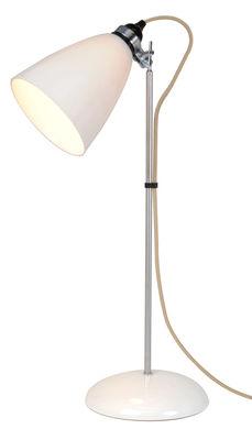 Luminaire - Lampes de table - Lampe de table Hector Dome / H 71 cm - Porcelaine lisse - Original BTC - Blanc lisse / Acier & câble beige - Métal chromé, Porcelaine