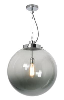 Lighting - Pendant Lighting - Globe large Pendant - Ø 40 cm -  Solid brass and blown glass by Original BTC - Chrome / Anthracite glass - Blown glass, Chromed metal