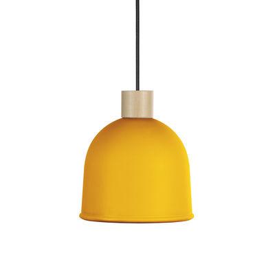 Lighting - Pendant Lighting - Ons Pendant - / Ø 21.4 cm - Metal & wood by EASY LIGHT by Carpyen - Mimosa yellow - Beechwood, Lacquered metal