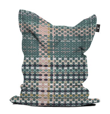 Furniture - Poufs & Floor Cushions - Tressage Pouf - / 140 x 180 cm by PÔDEVACHE - Khaki & pink -  Micro-billes EPS, Polyester