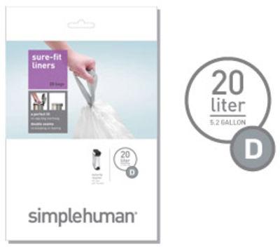 Cuisine - Poubelles de cuisine - Sac plastique 20 litres / Lot de 20 - Pour poubelle Deluxe Recycle - Simple Human - Blanc - 20 litres - Plastique