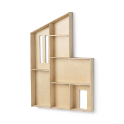Furniture - Bookcases & Bookshelves - Miniature Funkis House Shelf - / Display case - L 47 x H 70 x Depth 7.6 cm by Ferm Living - Wood - Natural wood plywood