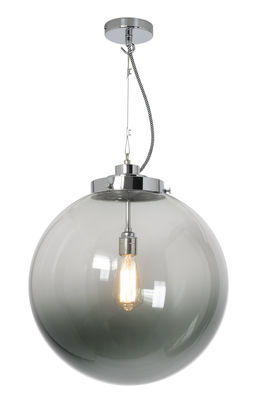Illuminazione - Lampadari - Sospensione Globe large - / Ø 40 cm - Vetro soffiato di Original BTC - Vetro antracite / Cromato - Metallo cromato, vetro soffiato