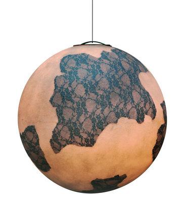 Illuminazione - Lampadari - Sospensione Ululi - / Per l'esterno - Ø 45 cm di Karman - Bianco / Pizzo nero - Fibra di vetro, Pizzo