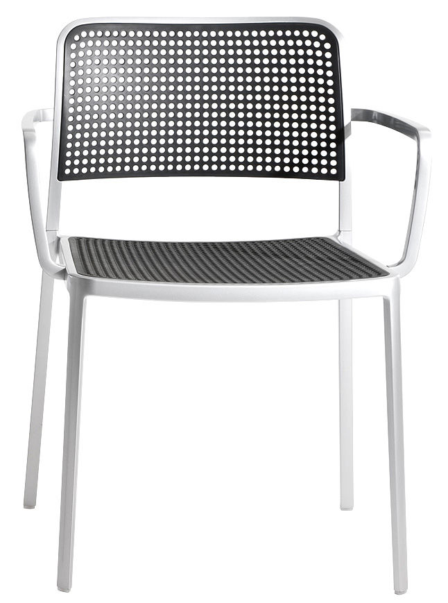 Furniture - Chairs - Audrey Stackable armchair - Matt aluminium structure by Kartell - Matt alu structure / black - Polypropylene, Varnished aluminium